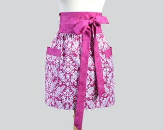Womens Waist Aprons . Cute Flirty Obi Style  Half Apron Vintage Pink Fuschia Damask Kitchen Cooking or Hostess Womans Apron