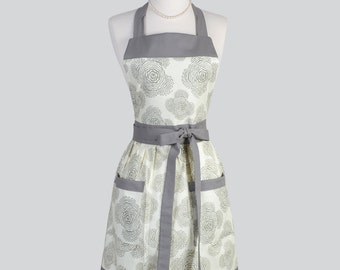 Full Bib  Womens Apron / Vintage Inspired Styling in Ivory and Slate Floral Perfect for Personalization or Monogrammed