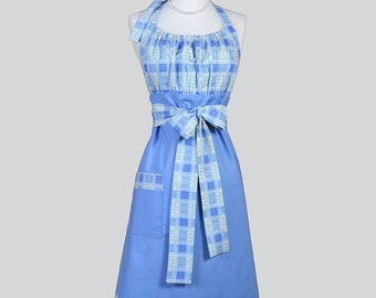 Cute Kitsch Retro Aprons / Full Vintage Kitchen Womens Apron in Blue Denim and Plaid Handmade Chef Kitchen Cooking Hostess Womans Apron