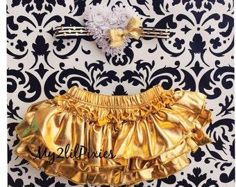 BABY BLOOMER and HEADBAND Set-Ruffle Bum Baby Bloomer, Gold Bloomer,newborn bloomer,Valentine Bloomer-my2lilpixies