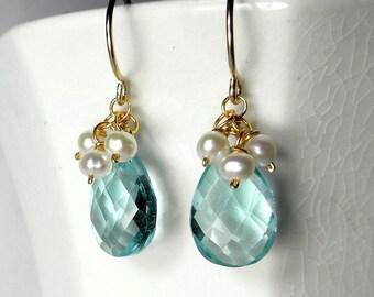 Aquamarine Earrings with Pearls, Light Blue Earrings, Aquamarine Drop Earrings, Blue Quartz Earrings