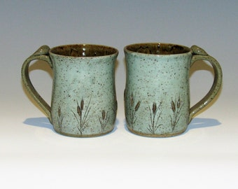 Set of 2 Cattail Mugs Small Mugs 12 oz mugs