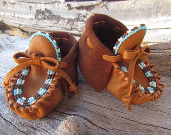 "Baby Moccasins By Desi, Beaded, Deerskin Leather, 3-6 Months,3 3/4"" long, Size 2.5,  Soft Soled Shoes, Boy, Girl, Aztec, Tribal, Booties,"