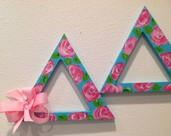 Greek letters sorority letters Tri Delta Lilly hand painted Greek letters