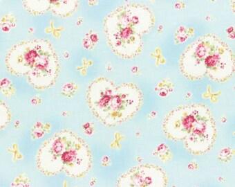 Princess Rose 2015   Cotton Fabric Lecien 31266-70 Hearts Blue