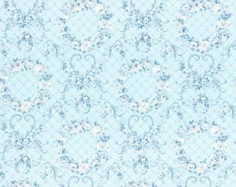 Rococo Sweet 2016  Wreaths of Roses on Blue Cotton Fabric Lecien 31362-70