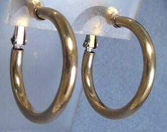 Sterling Hoop Earrings Vintage Napier Goldwash on Silver