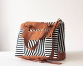 Women laptop bag, work tote in striped canvas  and brown leather, large crossbody purse, work bag, messenger bag - Ophelia bag