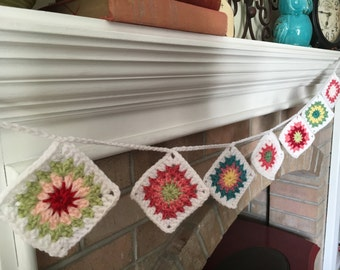 Crochet Granny Square Bunting, approx 4 ft, choose colorway *FREE shipping to US*