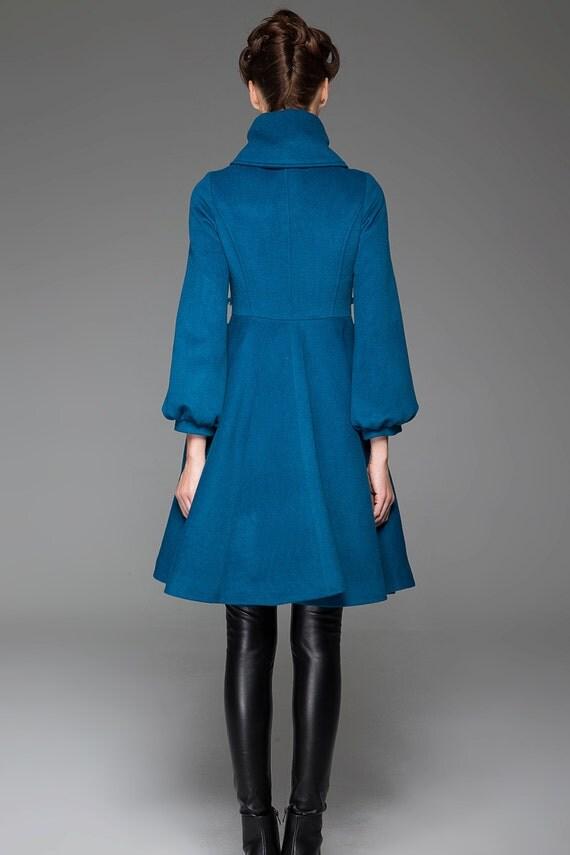 Turquoise Jacket Blue coat wool jacket winter coatswing