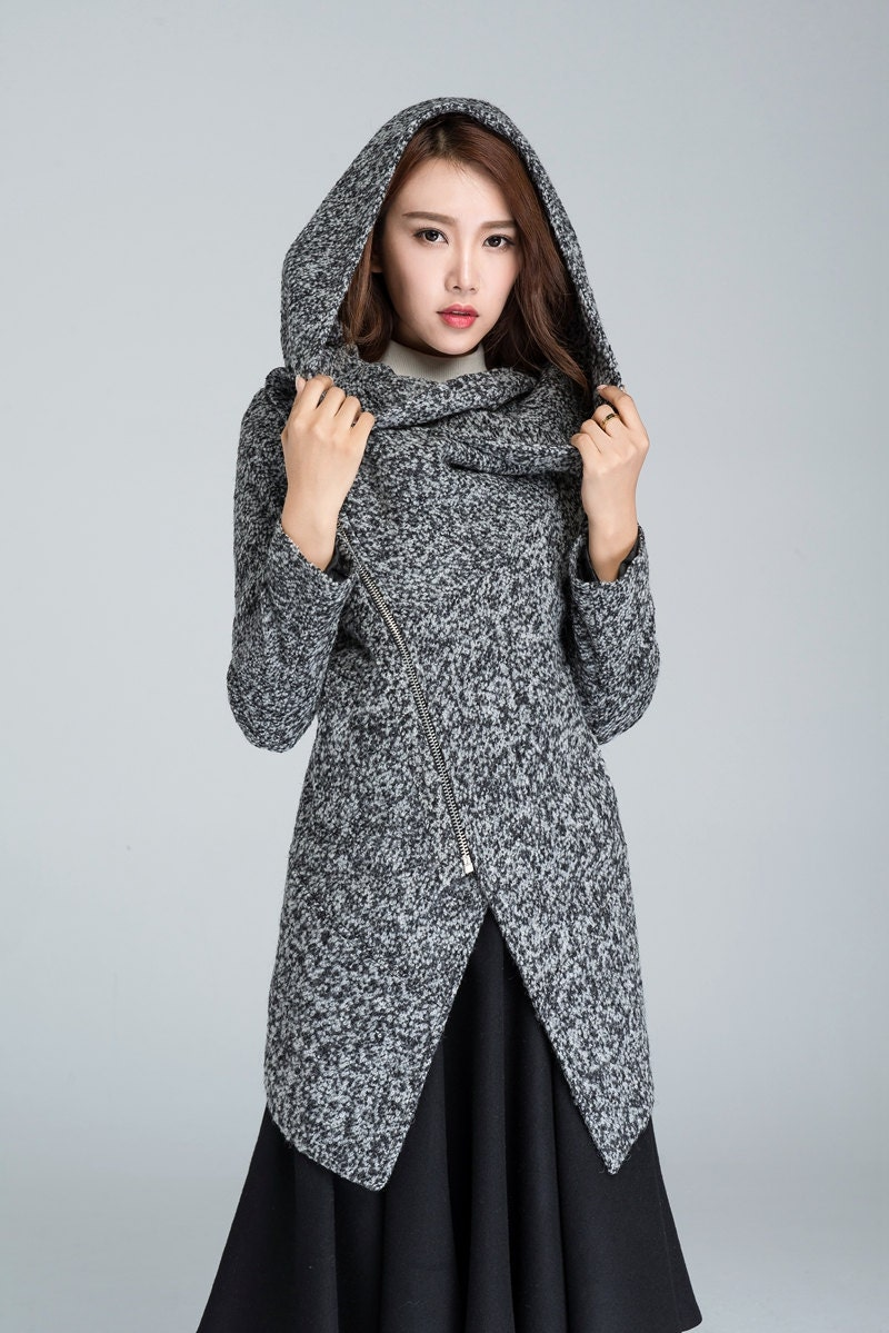 spring coat Cowl neck coat womens coats asymmetrical coat