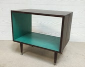 The Backless Wee Record Player Stand Mid Century Modern Record Cabinet TV Stand Vinyl Storage, MCM TEAL and Chocolate Brown