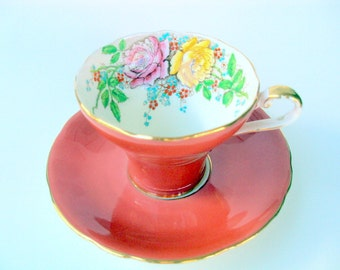 Vintage Aynsley Bone China Tea Cup and Saucer,England 1940s,Corsetted,Floral Moriage,Yellow Pink Roses,Coral Color,Dining Serving,Gold Trims