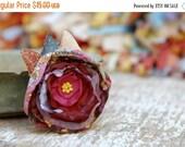 SALE SALE SALE Fabric flower brooch in Magenta bordeaux--- Fabric flower brooch with colorful leaves --- Tagt Rdtt --- Winter accessory