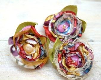 SALE SALE SALE Colorful Flowers Bobby Pins --- Hair Pins ---  Fabric Flowers Hair Accessories ---  Tagt Team ---  Fleur en tissu