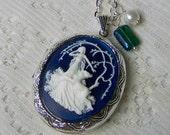 Goddess Cameo Locket - Diana Necklace - Artemis - Huntress - Goddess of the Hunt - Forest - Woodland Wedding - Nature - Navy Blue and White