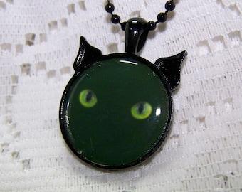 Black Cat Jewelry - Black Cat with Green Eyes, Halloween Cat Pendant - Black Cat Green Eyes art necklace - Kitty - Midnight Cat, Cat Head