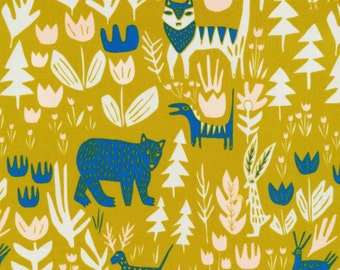 Cloud 9 Fabrics - Lore by Leah Duncan - Lions Tigers and Bears in Gold Organic