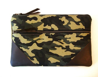 Large Zipper Clutch  Chocolate Leather and Camouflage Clutch