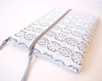 Large Zipper Clutch White and Grey Vintage Lace