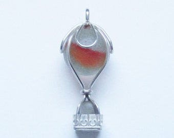 Sea Glass Jewelry - Sterling Sea Glass Marble Hot Air Balloon Pendant