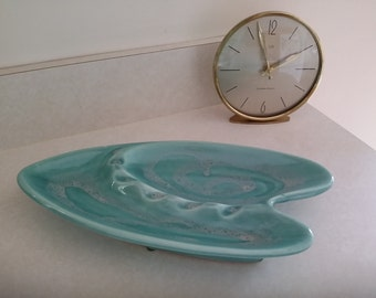 Vtg Turquoise Mid Century Atomic White Drip Ceramic Boomerang Ashtray Made in America