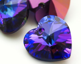 1 - Swarovski Xilion Heart Pendant - 18mm Crystal Heliotrope Beads - 100% Guarantee