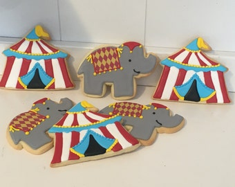 Circus Tents and Elephants Hand Decorated Iced Sugar Cookies - 1 Dozen