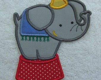 Circus Elephant Fabric Embroidered Iron On Applique Patch Ready to Ship
