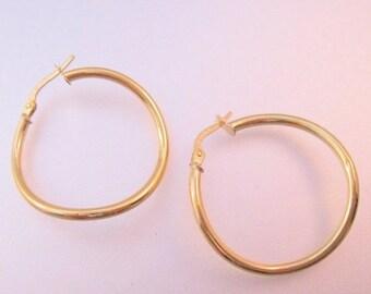 """BIGGEST SALE of the Year Italian 18K Yellow Gold Wavy Hoop Earrings 1.1"""" Vintage Fine Jewelry Jewellery"""