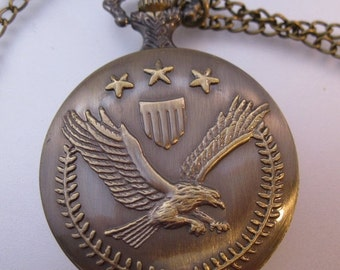 10% OFF SALE Vintage USA Army Eagle Emblem Pocket Watch & Chain Necklace Costume Jewelry Jewellery