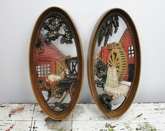 Vintage Burwood Horse and buggy and Mill plaques set of 2