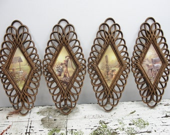 Vintage Burwood diamond shaped country scene wall plaques or pictures