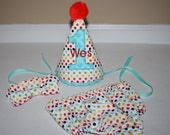 first birthday outfit boy, cake smash outfit, small primary color dots, 1st birthday hat,  boys diaper cover, boys tie, birthday hat