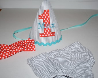 boy first birthday outfit,gray seersucker with orange and aqua blue, 1st first birthday, cake smash outfit, 1st birthday, boys diaper cover