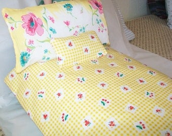 SALE! Handmade Doll Bedding, comforter with 2 pillows, vintage hankie pillow