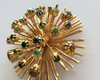 Starburst Brooch Gold with Green and Gold Rhinestones