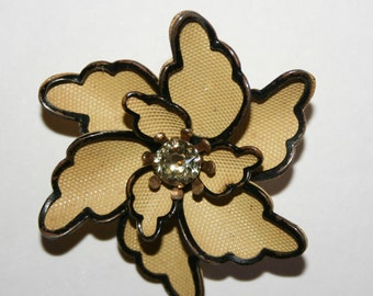 Vintage Enamel and Rhinestone Flower Brooch
