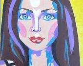 Original Acrylic Painting by Vakadi Special Woman Portrait- Original Art Pattern Painting Home Decor OOAK