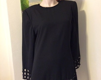 Vintage 80s Elegant Black Windowpane Sequins Beads  Beaded Blouse Top Size  Large