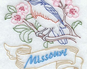 Machine embroidered State bird quilt white block 12 x 12 new handmade