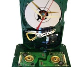 "FREE SHIPPING! Painted Hard Drive Clock with Golden Disk Clamps and Green Circuit Boards, ""Head Crashed"" Platter!"