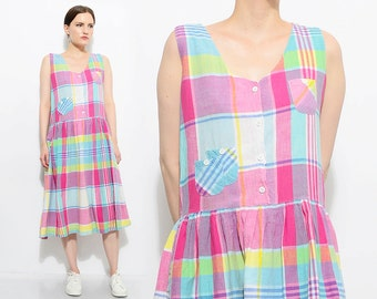 Vintage 90s Colorful Checkered Plaid Cotton Sundress Loose Drop Waist Preppy Grunge Babydoll Sleeveless Midi Dress Small XS S
