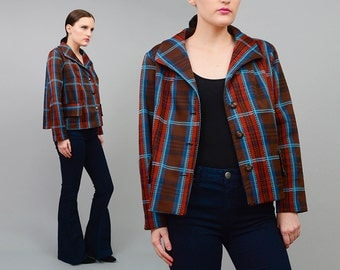 Vintage 70s Plaid Jacket Preppy Boxy Blazer 1970s Cropped Knit Jacket Brown Blue Orange Medium Large M L