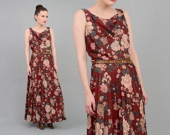 SALE Vintage 70s Brown Floral Dress Cowl Neck Accordion Pleated Skirt 1970s Romantic Bohemian Maxi Dress Medium M
