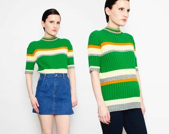 60s 70s Green Striped Sweater Mock Turtle Neck Mod Ribbed Knit Top 1960s Fitted Jumper S M