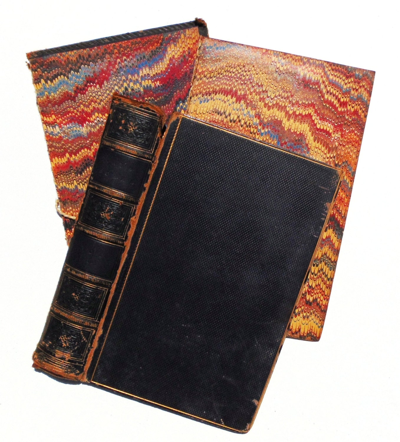 Black Leather Book Cover ~ Antique black leather book covers