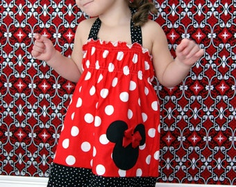 SHIP NOW Girls Minnie Mouse dress, girls Minnie Mouse halter dress, Disney vacation dress, Minnie Mouse birthday dress