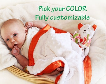 Minky Bear Security Blanket, Lovey, Satin, Baby Blanket, Stuffed Animal, Baby Toy - Customize Color - Monogramming Available