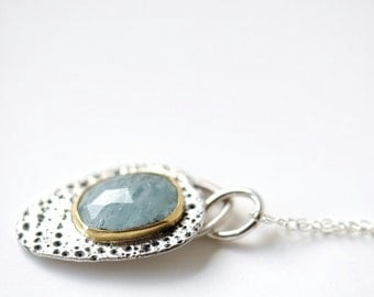 Aquamarine pendant with 22K gold bezel and sea urchin textured silver, natural aquamarine jewelry